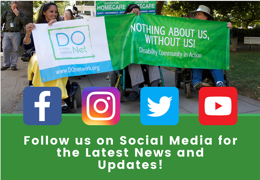 Follow us on social media for the latest news and updates! Background photo of DCAD participants holding up the DOnetwork banner. Icons for Facebook, Instagram, Twitter, and YouTube.