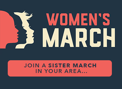 Graphic of Women's March. Join a Sister March in your area.