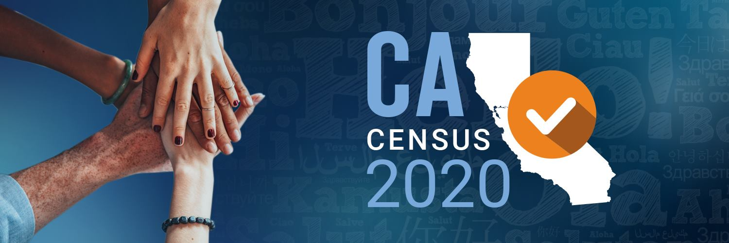 Hands of various people stacked. Text: CA Census 2020