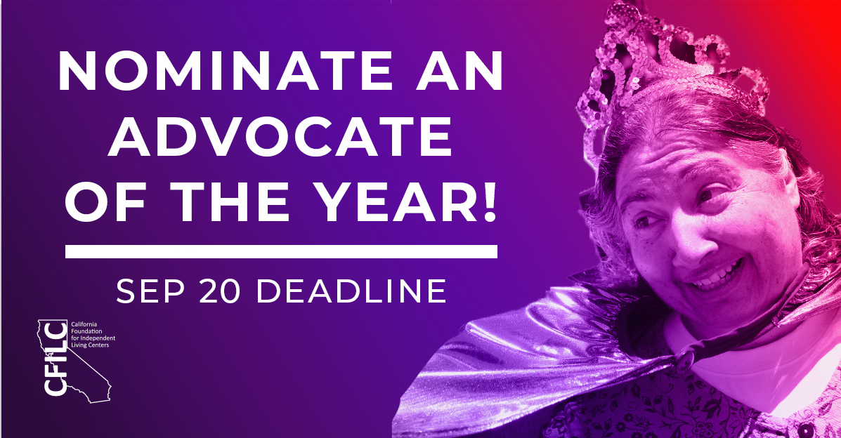 Photo of Italian American woman smiling, wearing a tiara on her head. Text: Nominate an Advocate of the Year. Deadline Sept 20.